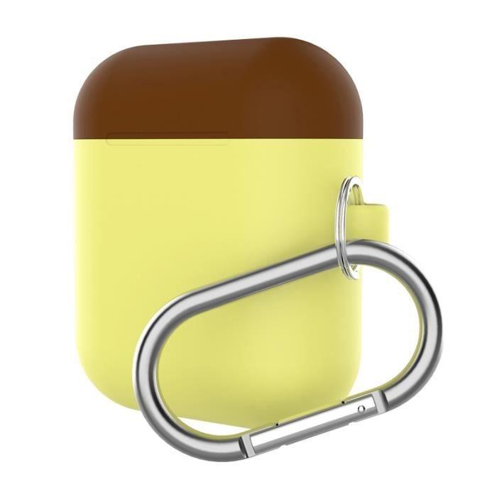 Coque Protection Écouteurs Sans Fil Épaissir Split Étui En Silicone Avec Mousqueton Pour Apple Airpods (café Jaune)