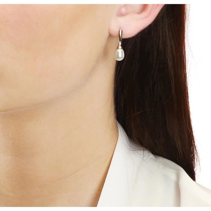 Elements - Ge780w - Boucles Doreille Femme - Or Jaune 375-1000 (9 Cts) 0.91 Gr - Perle-diamant - Perle Deau Douce QZRU0
