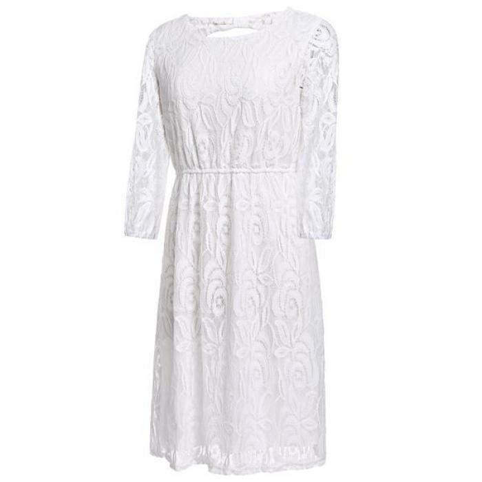 Robe femmes Casual O-cou trois-quarts manches dentelle solide avec archet Plus robe de taille