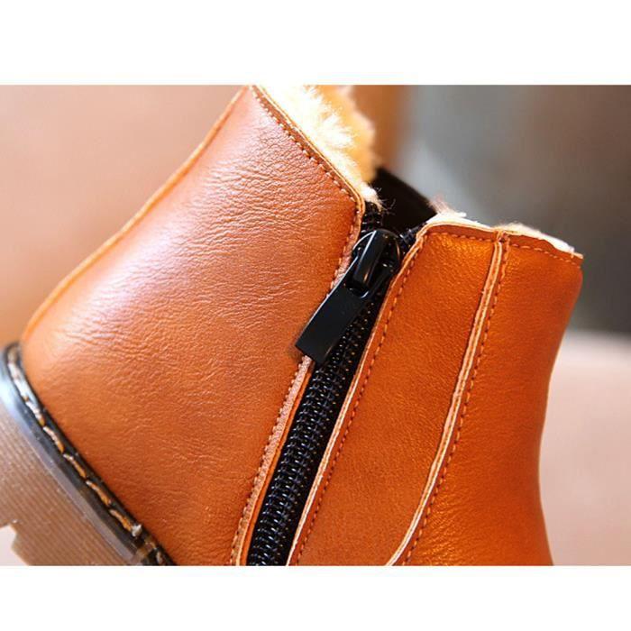Enfants garçons filles hiver neige chaude cheville bottes zip enfant Chelsea chaussures marron