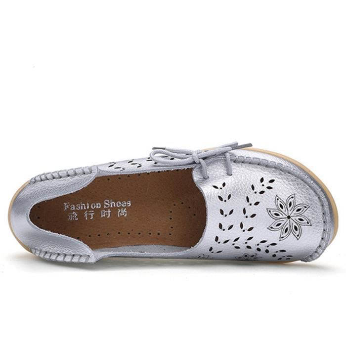 Leather Casual Loafer Shoes, Gracosy Floral Hollow Out Driving Casual Shoes Indoor Flat Slip-on Slip XB31W Taille-38 1-2