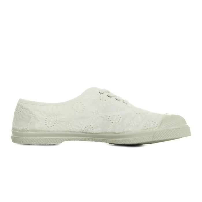 BENSIMON Baskets Basses à Lacets Broderie - Femme - Blanc OZvY9OSo