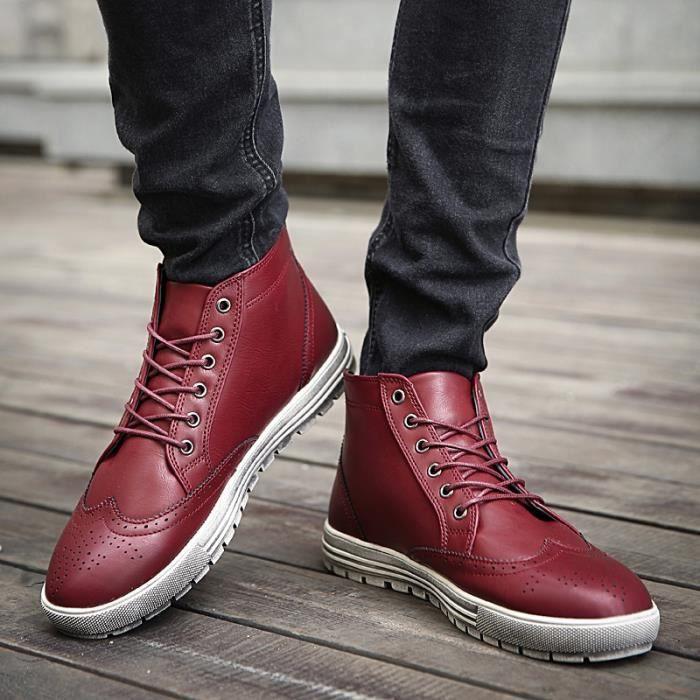 Marque Automne Hiver Hommes Chaussures Martin Bottes en daim Bottes chaudes de neige en cuir Bottes en plein air en bois aAjGL