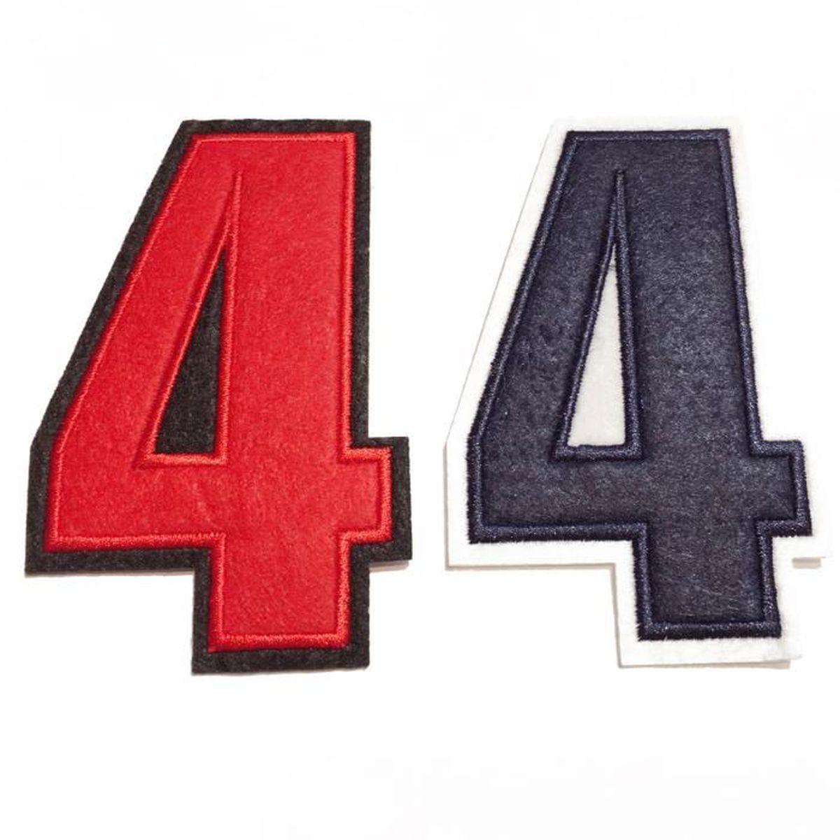 ecusson brodé à coudre couleur rouge motif de chiffre au choix – 4
