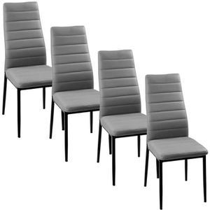 chaise chaise grise giga matelass lot de 4 - Chaise Simili Cuir