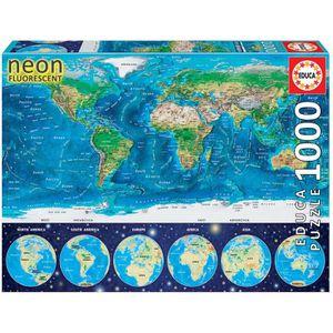 PUZZLE EDUCA - Puzzle Mappemonde Neon 1000 pcs