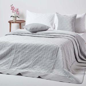 JETÉE DE LIT - BOUTIS Couvre-lit en velours matelassé gris à motif cercl