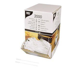 COUVERTS JETABLES PAPSTAR 10 x 2000 Agitateurs café, PS 11 cm blanc