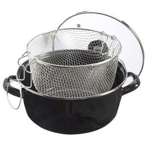 FRITEUSE ELECTRIQUE Friteuse en acier émaillé noir avec panier et couv