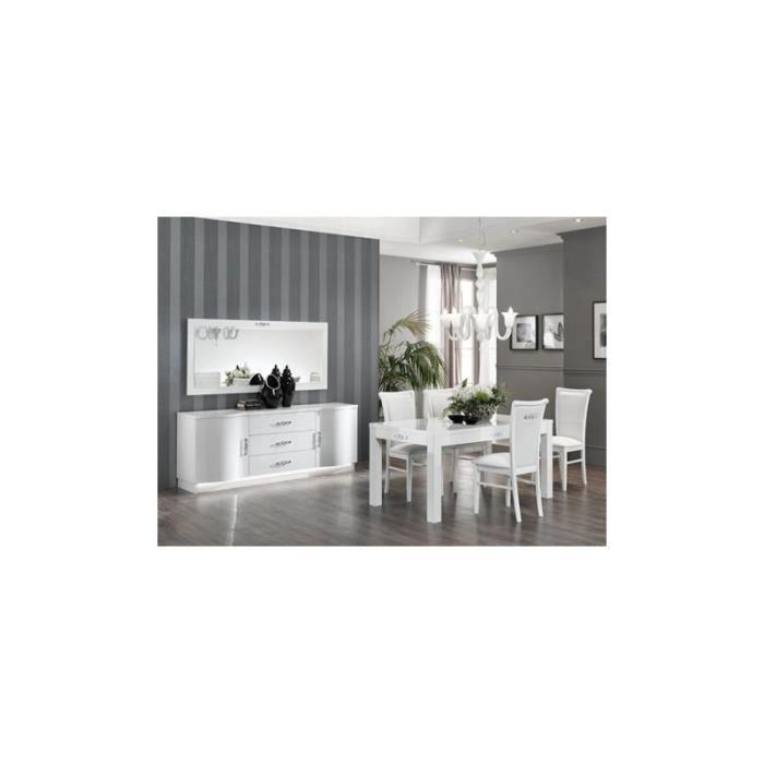 Salle À Manger Design BLANC Athéna2 avec table 160 cm +bahut + ...