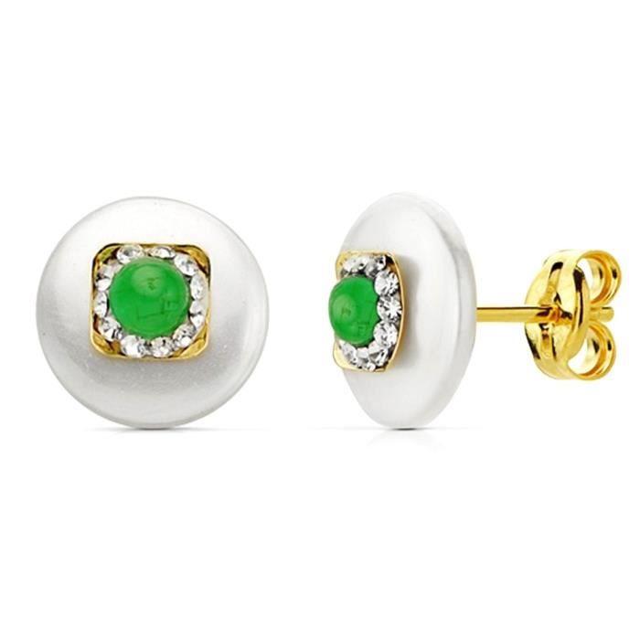 Boucle doreille perle en or 18 carats de 9 mm cube de pierre verte. AB2978 AB2978 WFuPjE2