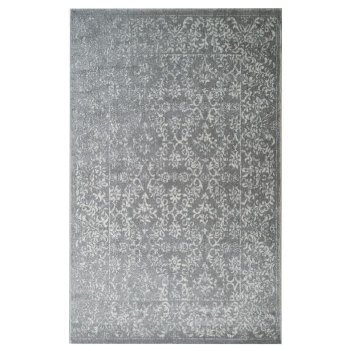 Tapis De Salon Oriental CIUDAD Gris Et Crème 120x170cm