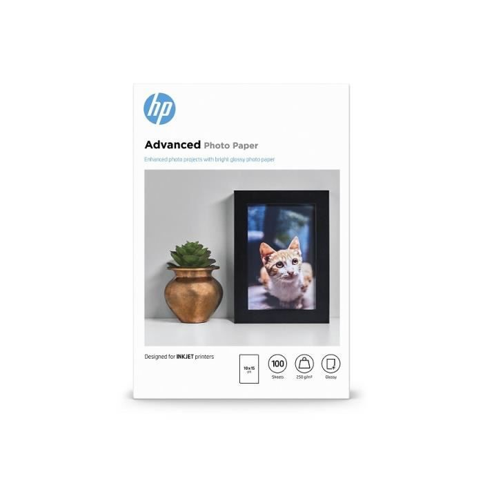 PAPIER PHOTO Papier brillant sans bordure HP Advanced - 100 feu