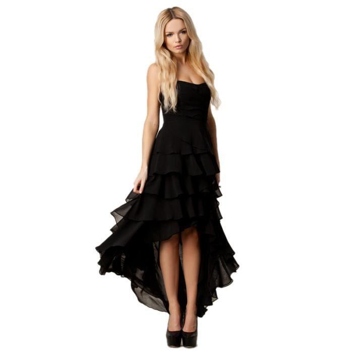 Robe Femme à Bulles Noir Mousseline de Soie Longue de Face Court Arrière Sans Bretelles