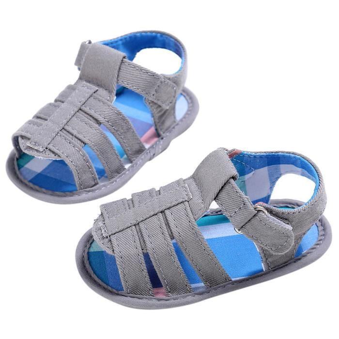 Frankmall®Bébé enfants fille garçon Semelle molle berceau sandales nouveau-né chaussures GRIS#WQQ0926442