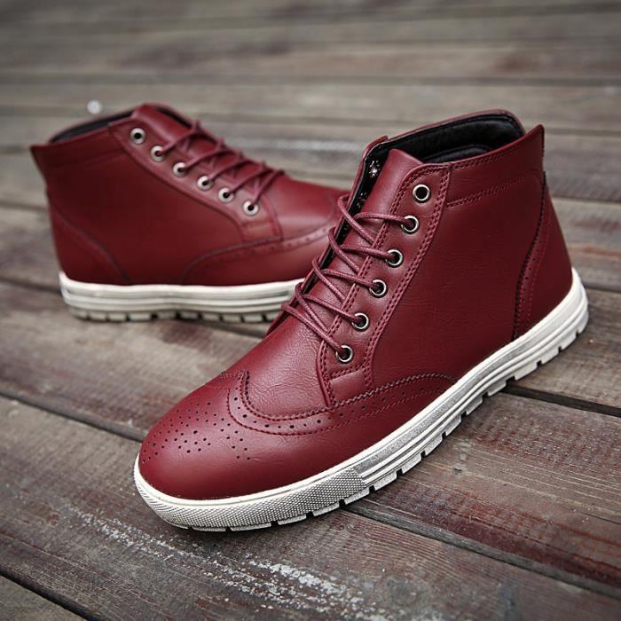 Marque Automne Hiver Hommes Chaussures Martin Bottes en daim Bottes chaudes de neige en cuir Bottes en plein air en bois