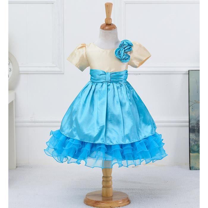 71031130c2644 Robe de Cérémonie Robe de Princesse Ruban de Satin Décorée Fleurs sur  l épaule Pour Les Enfants 3-8 ans (Bleu)