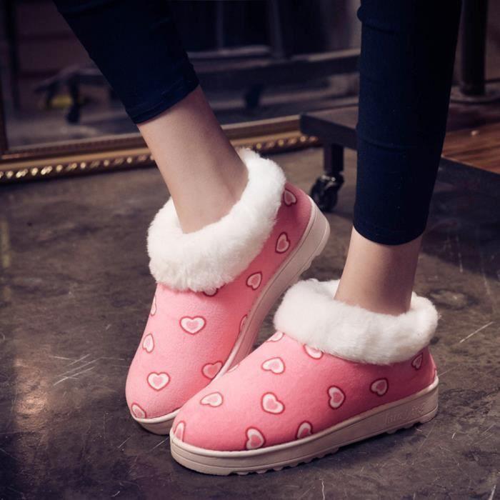 En Automne Lafayestore rose Chaussures Chaussures motif Forme Hiver Zf19774 Flats Coeur Neige De Bottes Femmes Chaud P6561