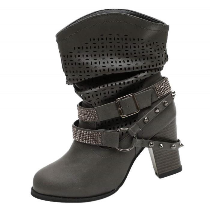 Embouchoire Bottes Redfoot Boots MTNG Bottines Femme Noires Fila Chaussures Femmes Automne Hiver Creux Cheville Bottines Talon