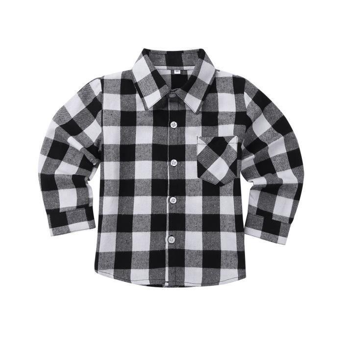 4aab7175d50df Chemise Enfant Garçon Fille Coton Chemise à Carreaux Classique Manches  Longues 18 Mois - 10 Ans Blanc Noir