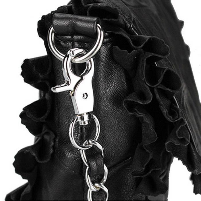 Sheepskin sacs à bandoulière en femme sac de chaîne de mode Sac Messenger noir