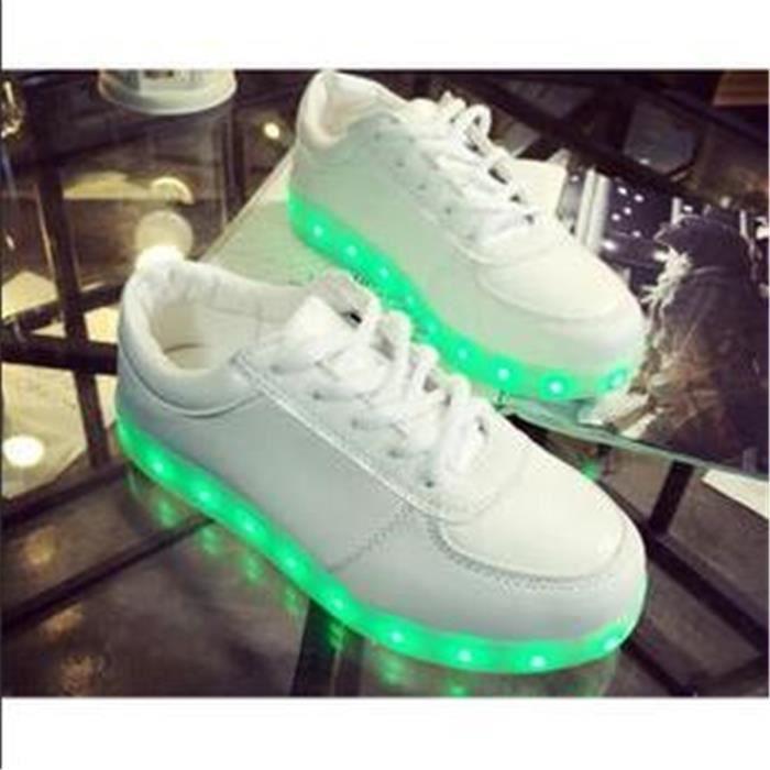 7 Couleur Unisexe Homme Femme USB Charge LED Lumière Lumineux Clignotants Chaussures de Sports Baskets Blanc vmE3JhzXy