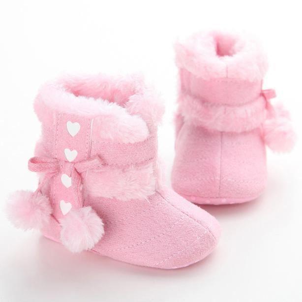 Bottes de neige de bébé Soft Sole Bottes de berceaux souples Bottes de tout-petit rose