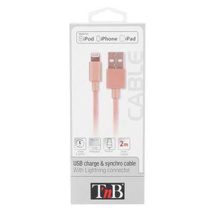TNB Câble USB de charge Lightning 2m - Or Rose