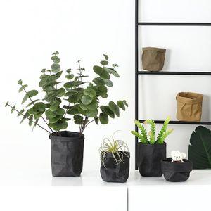 PANIER A LINGE 1pc Lavable papier Kraft sac plantes fleurs pots m