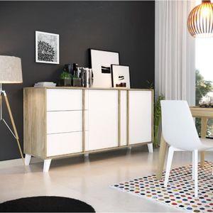 BUFFET - BAHUT  OTAWA Buffet scandinave blanc et décor chêne - L 1