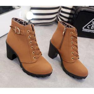 99ab014bde8a33 WONZOM® Hiver Talon haut talon épais Bottines à lacets Ladies Buckle  Platform Chaussures femme taille 35-40