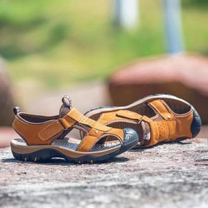 SANDALE - NU-PIEDS Sandales Hommes Peep-orteil Plage Chaussures Cuir
