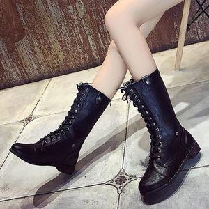 BOTTE Mode Punk Style gothique à lacets Bottes Femme Cha