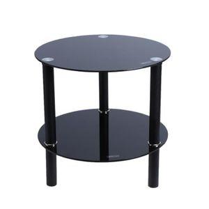 TABLE BASSE Double verre trempé Circulaire Table basse (Noir)