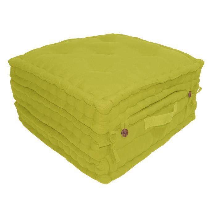 Enveloppe : 100% toile de coton - Garnissage : 100% coton - Dimensions : 60x60x180 cm - Coloris : vert anisCOUSSIN DE SOL - MATELAS DE SOL