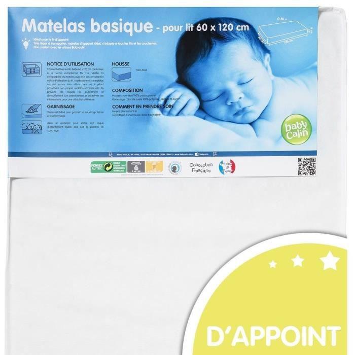 BABYCALIN Matelas Bébé Non Tissé Prixcalin 60x120x8 cm Housse Blanche 16kg/m3