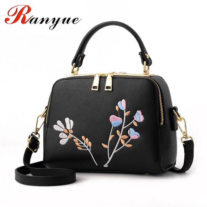sac à mainMode Sacs Broderie Femmes de haute qualité PU cuir Sacs fleur de Crossbody pour les filles de luxe des femmes sac-952