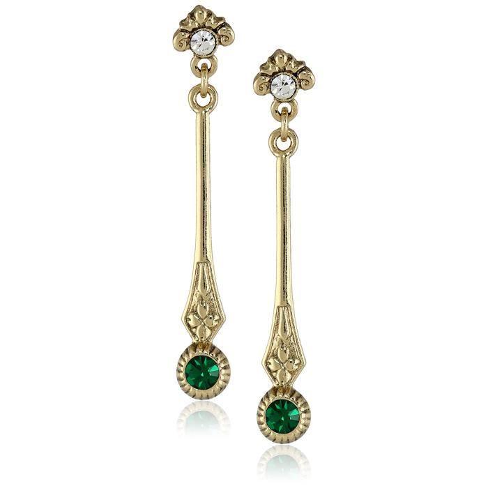 Downton Abbey Linear Crystal Post Top Drop Earrings LDM58