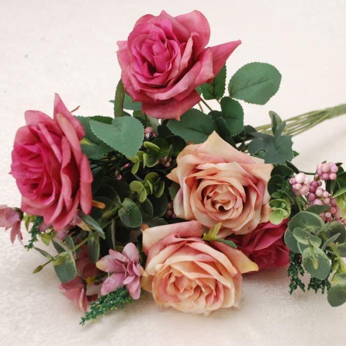 1 X Bouquet De Fleurs Artificielles Rose Deco Mariage Achat
