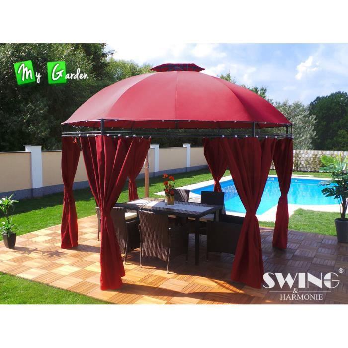 Tonnelle ronde pavillon de jardin rouge diam achat Tonnelle en bois pour jardin