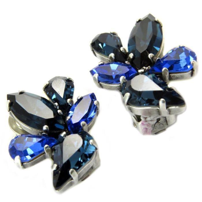 Clips doreilles artisanales Mythique Syracure bleu argenté - 25x20 mm [P5560]