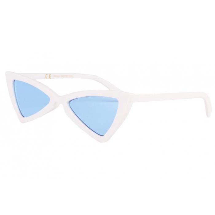 Lunettes de soleil triangulaires blanches verres bleu Tryade - Bleu -  Taille unique a0dde5af730c