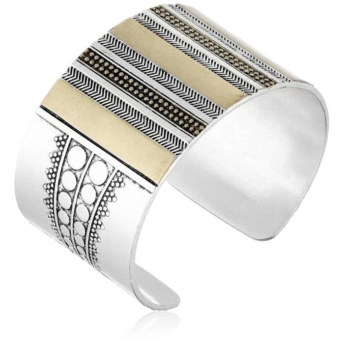 Lucky Brand Two Tone Major Cuff Bracelet UHO66