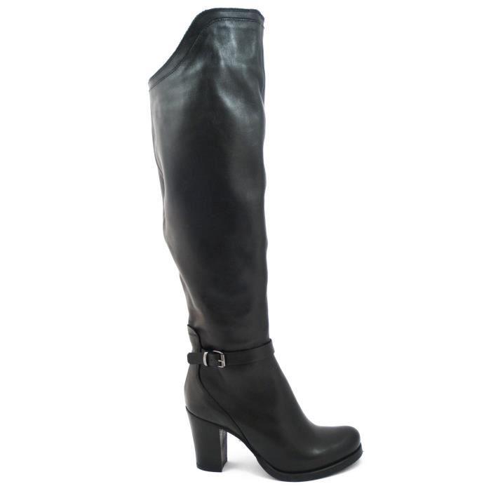 Osvaldo Pericoli, Botte modèle au-dessus du genou en cuir noir souple, talon 8cm. et anti-dérapant semelle en caoutchouc, R533-i16