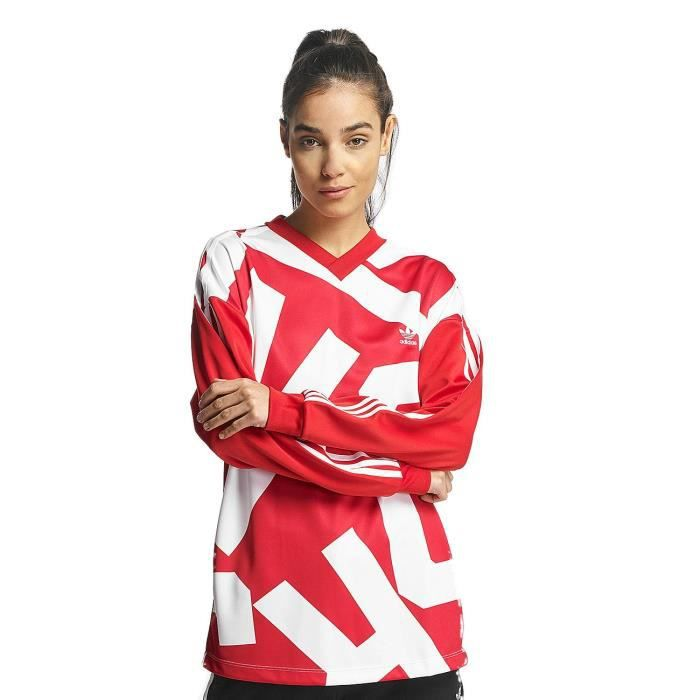 Adidas Femme Hauts T Shirt Manches Longues Oversized Track Rouge