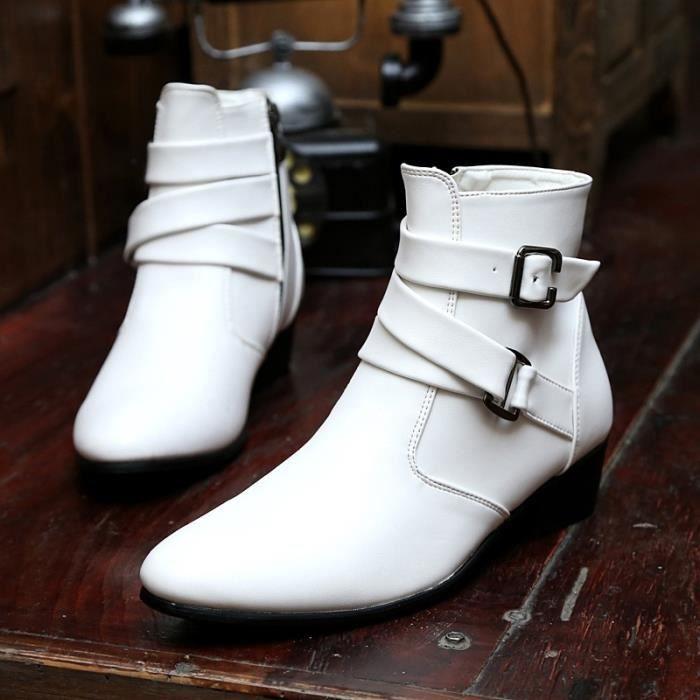 Botte Homme Simple britannique Big Taille haute qualité en cuir de loisirs blanc taille46 gsFhHK1MnB