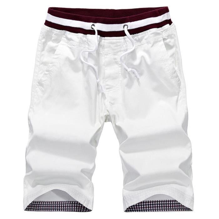 Blanc Mode Unie Coton Shorts Casual Homme Couleur En Vintage MzGqSVUjLp