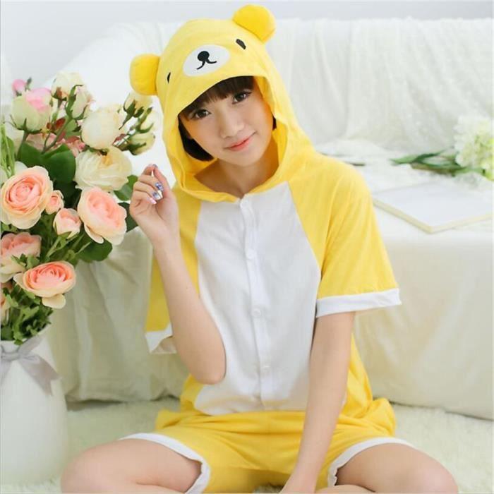 Dessin Vêtements Unisexe Jaune Coton De Nuit Nouvelle Grande Pour D'été xl Confortable Ours Mode Taille Costume Adulte Pyjamas S 1ECxpUwqn