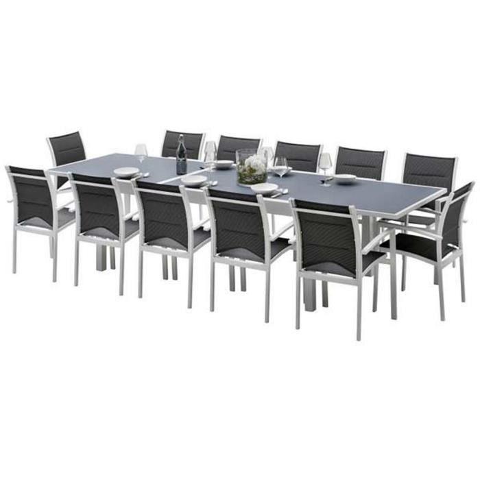 628b3011de0007 Ensemble table et chaises de jardin MODULO 12 PLACES BLANC-GRIS PERLE