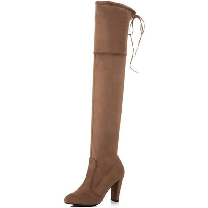 Femmes Cuissardes Cuissardes Bottes sexy Chunky talon Drawstring Bootie ZI897 Taille-37